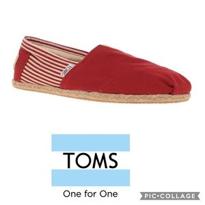 Toms red stripped Espadrille slip ons